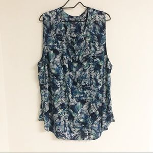 NYDJ Sleeveless Leaf Print Blouse Blue